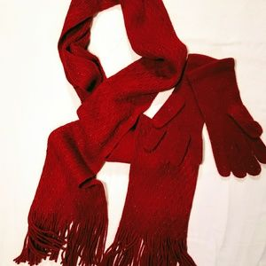 Accessories - Red Scarf and Mitt Set